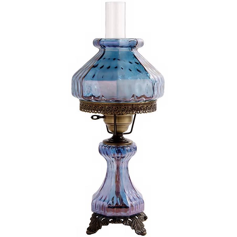 Blue Rhombus Octagon Shade Night Light Hurricane Table Lamp