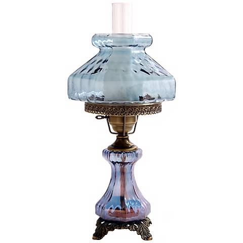 Large Blue Rhombus Night Light Hurricane Table Lamp