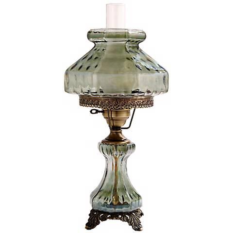 Large Green Rhombus Night Light Hurricane Table Lamp