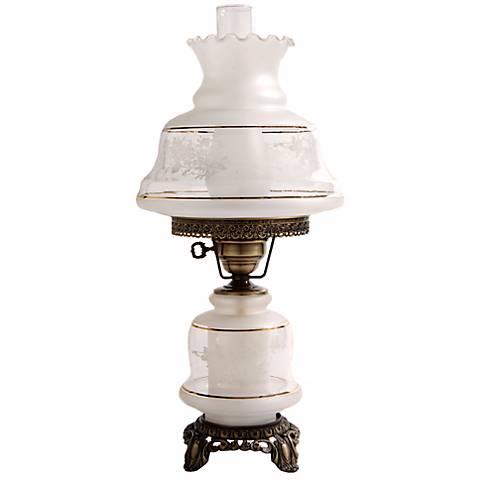 Medium Etched White and Gold Night Light Hurricane Lamp