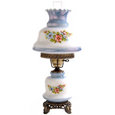 Blue Tint Floral Night Light Hurricane Table Lamp
