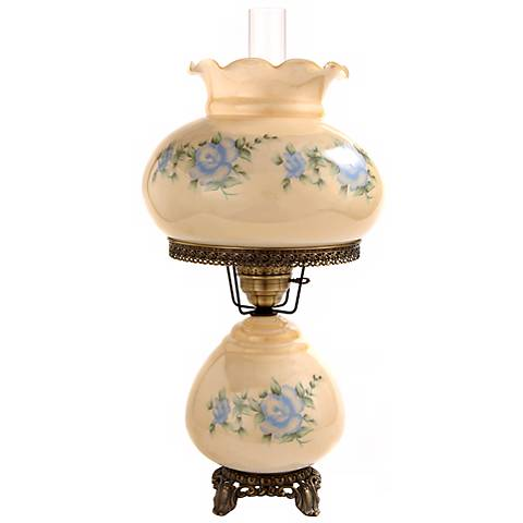 Large Blue Rose Night Light Hurricane Table Lamp