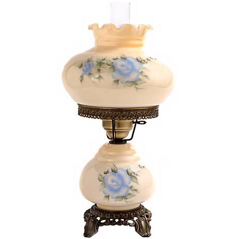 "Small Blue Rose 20"" High Night Light Hurricane Table Lamp"
