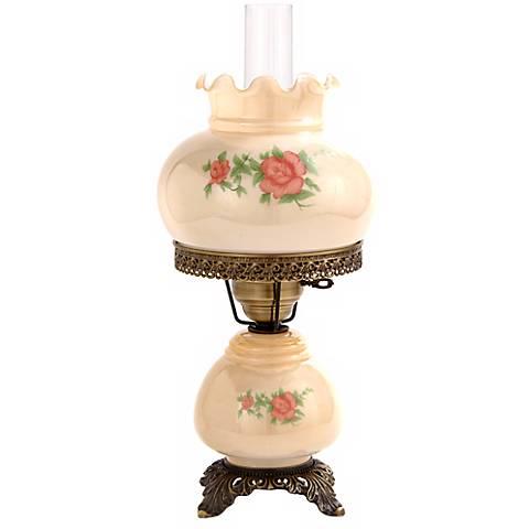 "Small Pink Rose 18"" High Night Light Hurricane Table Lamp"