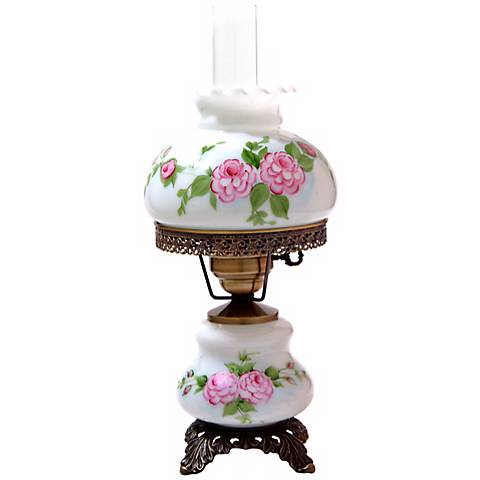 "Pink Roses 18""H Hurricane Night Light Small Table Lamp"