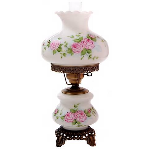 Pink Roses Medium Hurricane Night Light Table Lamp