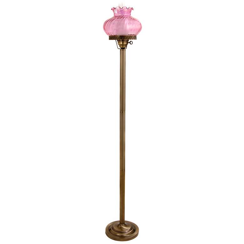 Rose Pink Student-Style Glass Hurricane Floor Lamp