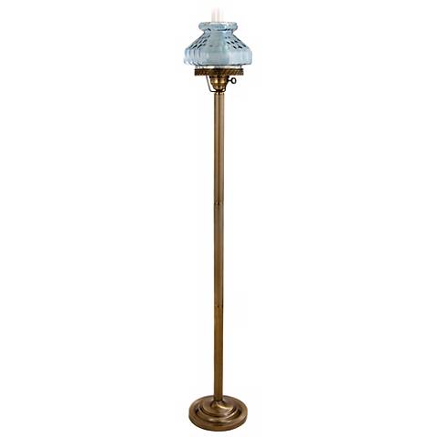 Lilac Blue Octagon Glass Hurricane Floor Lamp