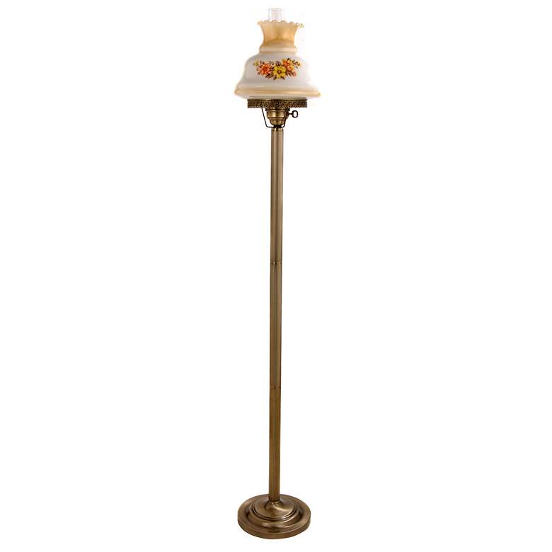 Floral Amber Hurricane Glass Floor Lamp