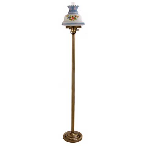 Floral Blue Hurricane Glass Floor Lamp