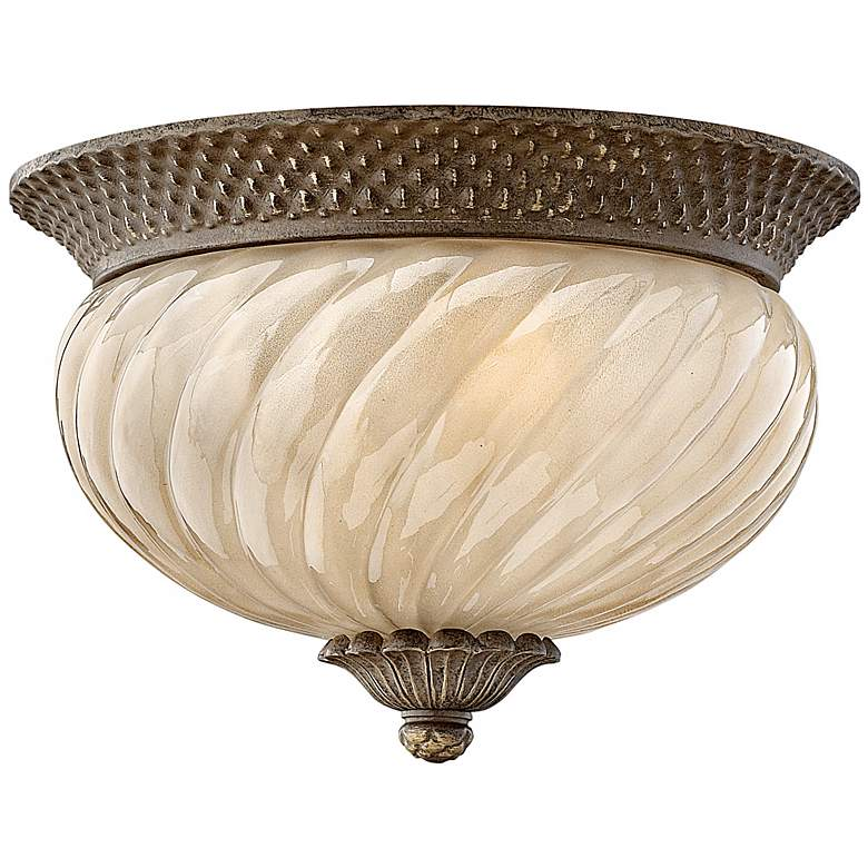 """Hinkley Plantation 12"""" Wide Etched Amber Glass Ceiling Light"""