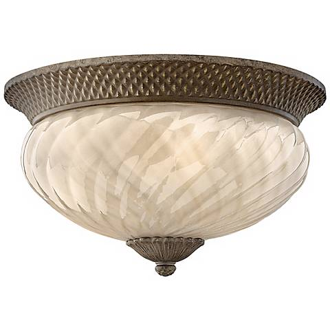"Hinkley Plantation 16"" Wide Amber Glass Ceiling Light"