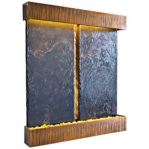 Nojoqui Falls Dual Panel Copper and Slate Wall Fountain
