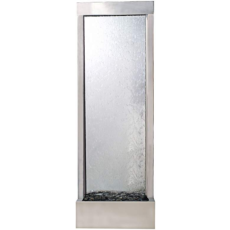 """Gardenfall 72"""" LED Clear Glass Indoor/Outdoor Steel Fountain"""