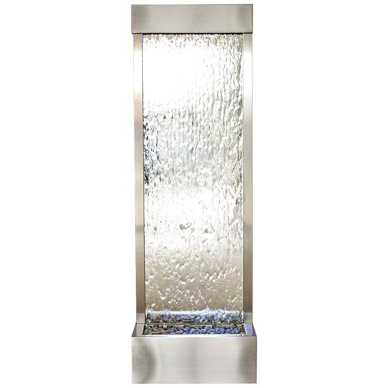 """Gardenfall LED 72""""H Silver Glass Indoor/Outdoor Fountain"""