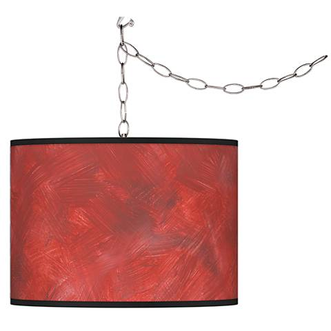 Swag Style Red Abstract Giclee Shade Plug-In Chandelier