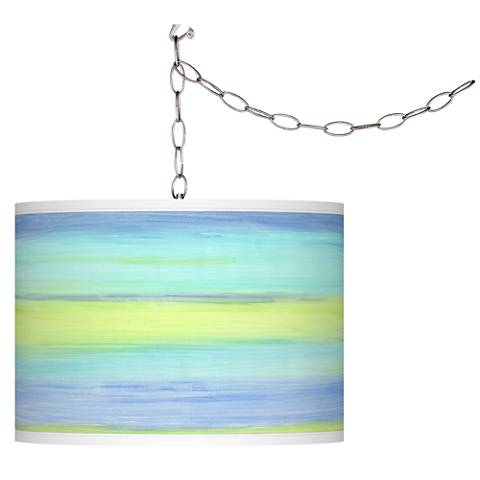 Swag Style Pastel Sea Giclee Shade Plug-In Chandelier