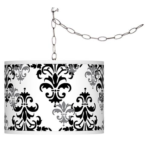 Swag Style Damask Shadow Giclee Shade Plug-In Chandelier