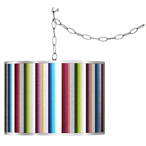 Swag Style Technocolors Silver Metallic Shade Plug-In Chandelier