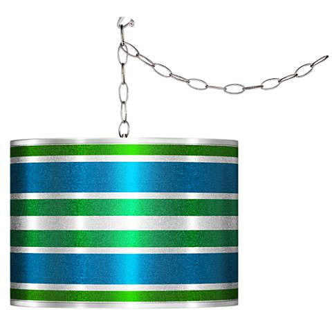 Swag Style Multi Color Stripes Silver Metallic Shade Chandelier