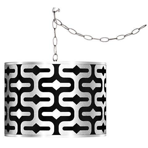 Swag Style Reflection Silver Metallic Shade Plug-In Chandelier