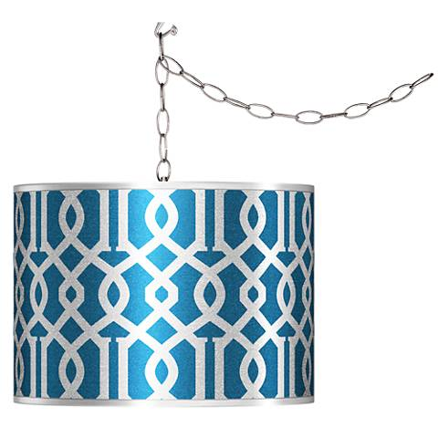 Swag Style Chain Reaction Silver Metallic Shade Chandelier