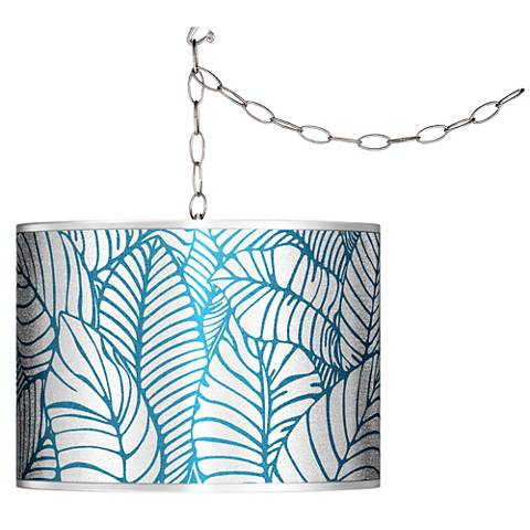 Swag Style Tropical Leaves Silver Metallic Shade Chandelier