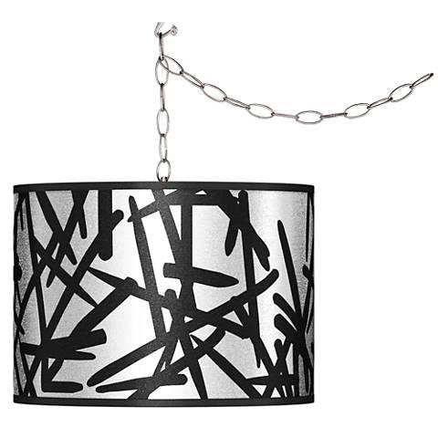 Swag Style Sketchy Silver Metallic Shade Plug-In Chandelier