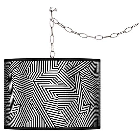 Swag Style Labyrinth Silver Metallic Shade Plug-In Chandelier