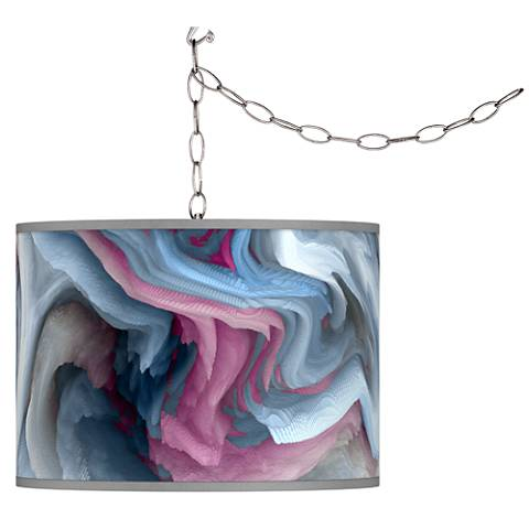 Swag Style Europa Giclee Shade Plug-In Chandelier