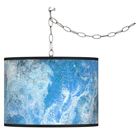 Swag Style Ultrablue Giclee Shade Plug-In Chandelier
