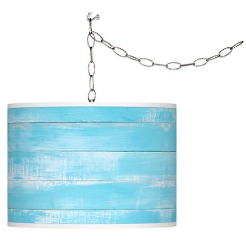Swag Style Barnyard Blue Giclee Shade Plug-In Chandelier