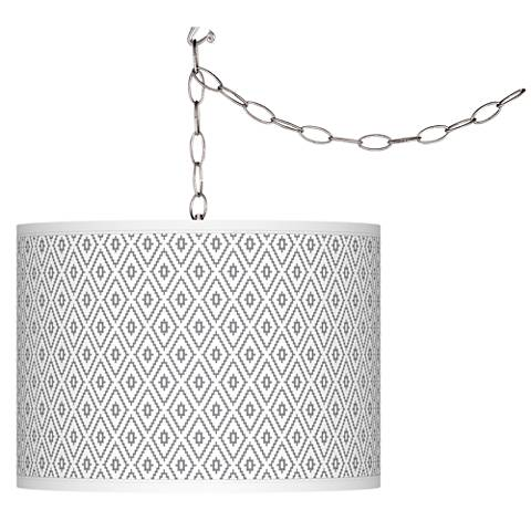 Swag Style Diamonds Giclee Shade Plug-In Chandelier