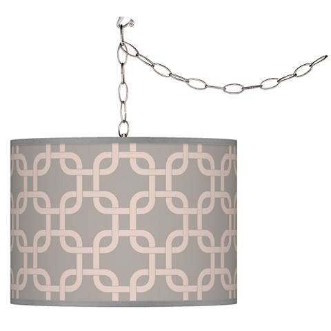 Swag Style Smoke Lattice Giclee Shade Plug-In Chandelier
