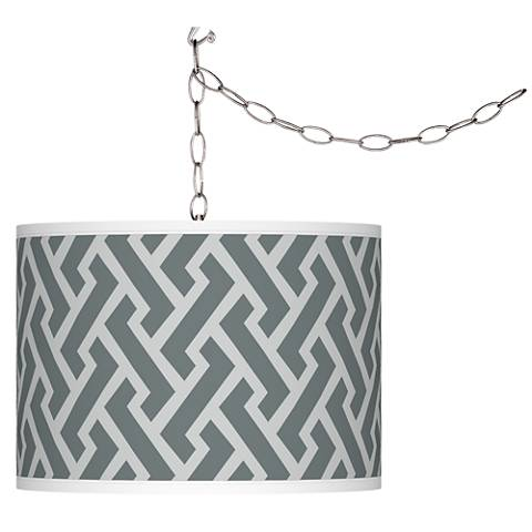 Swag Style Smoke Brick Weave Giclee Plug-In Chandelier