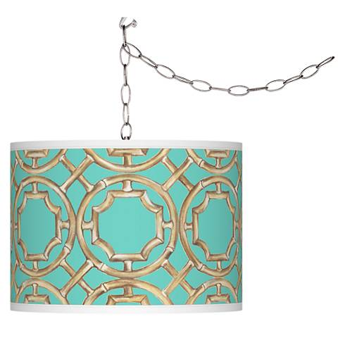 Swag Style Teal Bamboo Trellis Giclee Plug-In Chandelier