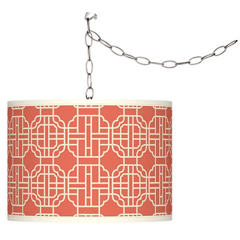 Swag Style Mandarin Giclee Shade Plug-In Chandelier