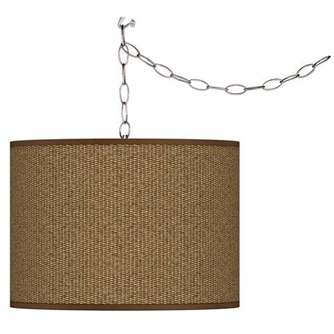 Swag Style Woven Wicker Print Giclee Shade Plug-In Chandelier