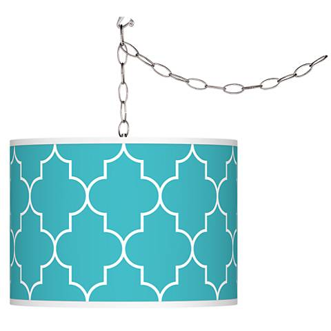 Swag Style Tangier Blue Shade Plug-In Chandelier