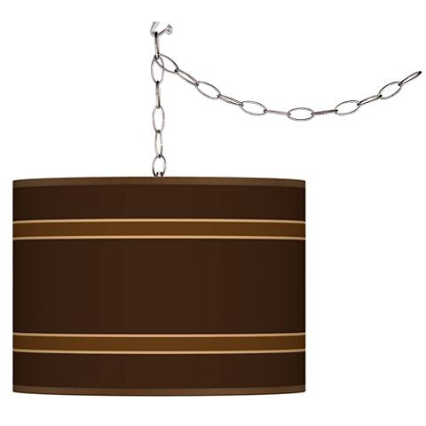 Swag Style Saratoga Stripe Shade Plug-In Chandelier