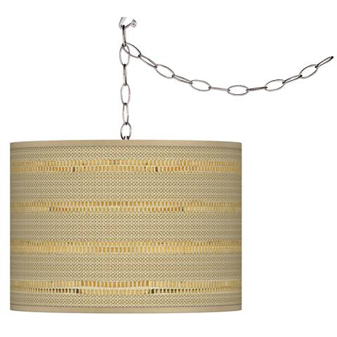"""Woven Reed Giclee 13 1/2"""" Wide Plug-In Swag Light"""