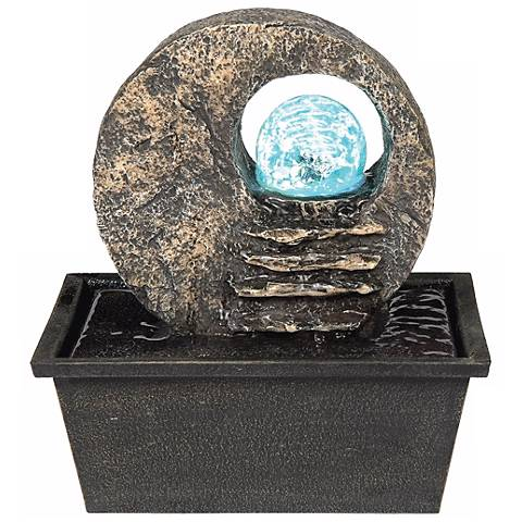 Round Open Faux Stone Crystal Ball LED Indoor Fountain