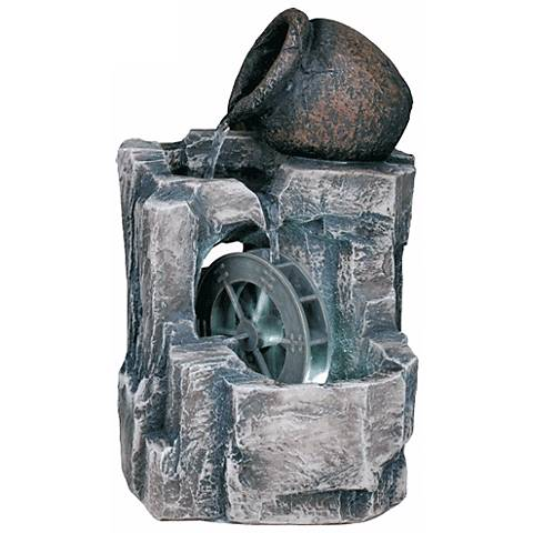 "Urn and Water Wheel 11"" High Table Fountain with LED Light"