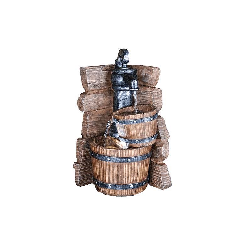 """Rustic Spigot and Buckets 11 1/2"""" High LED Tabletop Fountain"""