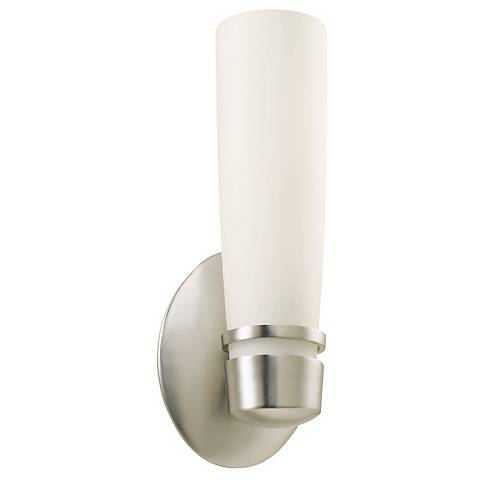 """Aria 11"""" High Fluorescent Satin Nickel Outdoor Wall Sconce"""