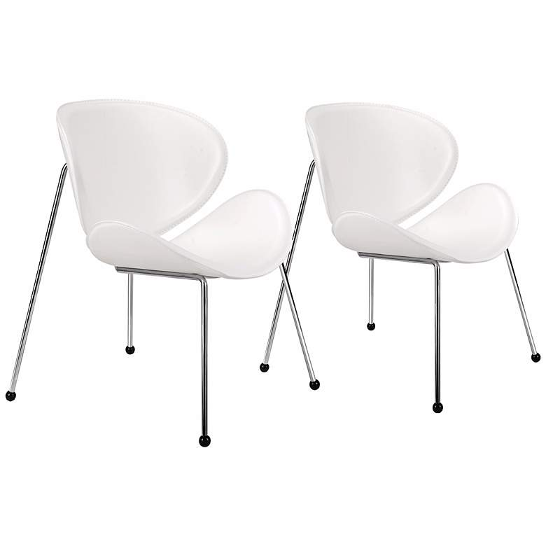 Zuo Match White Faux Leather Modern Accent Chairs - Set of 2