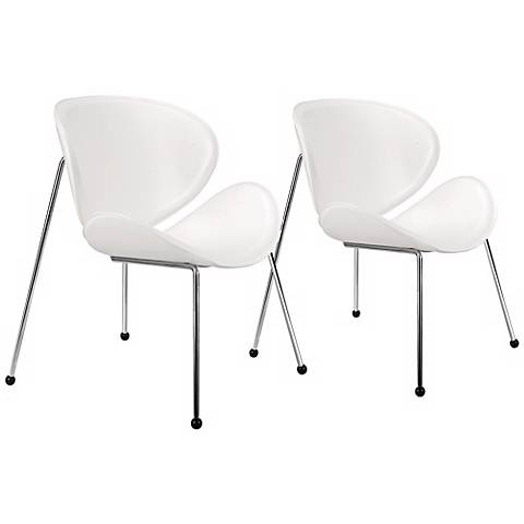 Zuo Match White Faux Leather Accent Chairs Set of 2