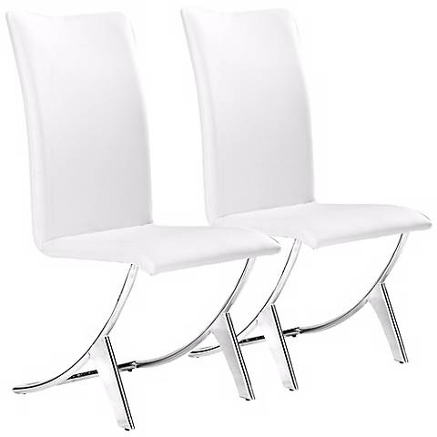 Set of Two Delfin White Leatherette Dining Chairs
