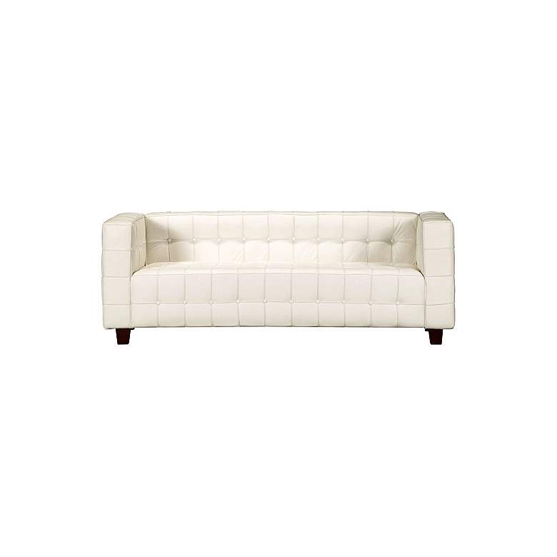 Zuo Button Collection White Leather Sofa
