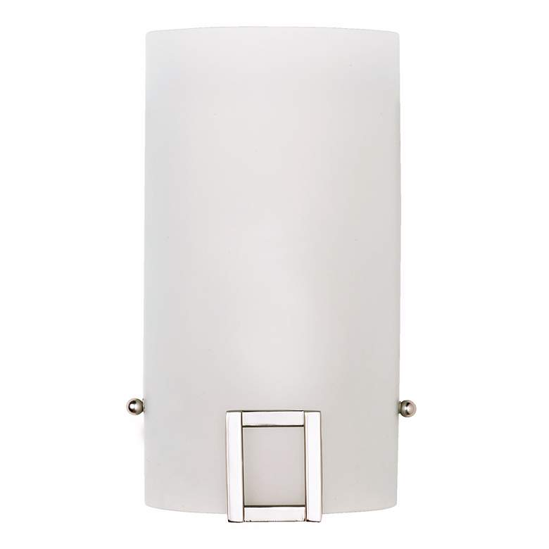 G6352 - Brushed Steel Metal and White Glass Wall Sconce